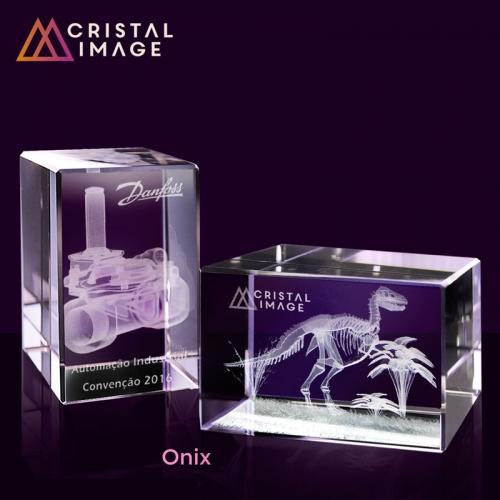 escultura de cristal, placa de cristal - Peso de Papel Modelo Onix