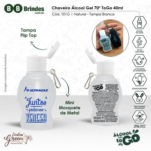 - Chaveiro Álcool Gel 70 ToGo 40ml