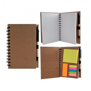 Bloco de anotações ecológico com caneta e post-it