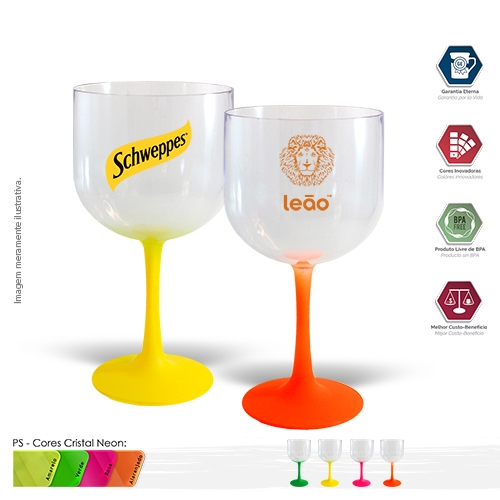 - Taça GIN 600ml PS Degradê Fosca BICOLOR Neon