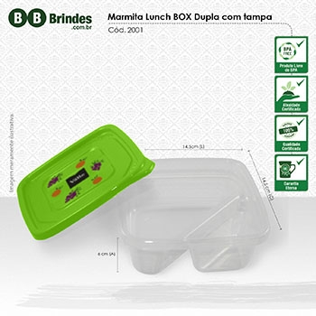 - Marmita Lunch BOX dupla com Tampa