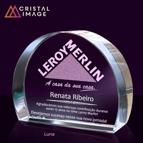 escultura de cristal, placa de cristal - Luna