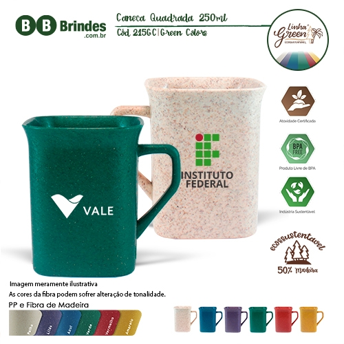 Caneca Quadrada Green Colors 250ml