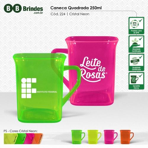 Copos personalizado, Canecas personalizada, Long drink personalizado - Caneca QUADRADA CRISTAL 250mL