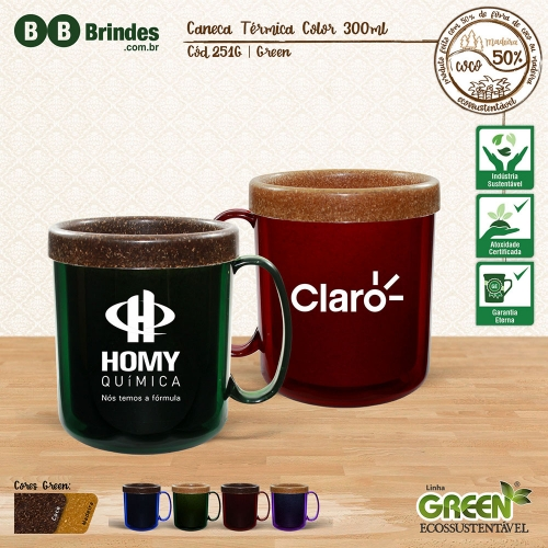 - Caneca TÉRMICA COLOR GREEN 300mL
