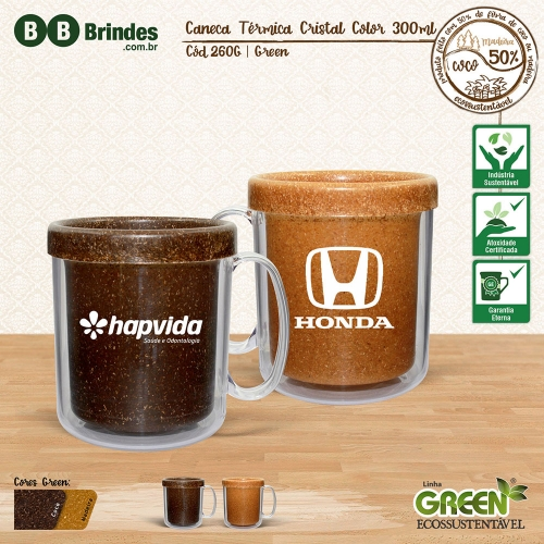 - Caneca TÉRMICA CRISTAL COLOR GREEN 300mL