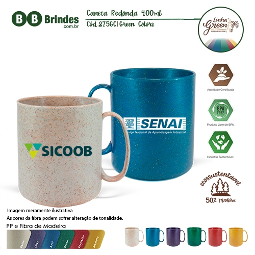 - Caneca Redonda Green Colors 400ml