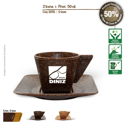 - Xícara de Café com Píres Ecológica 50ml de fibras da casca do coco ou de resíduos de madeira