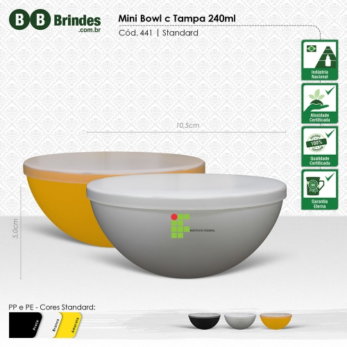 - Mini BOWL 240mL com tampa
