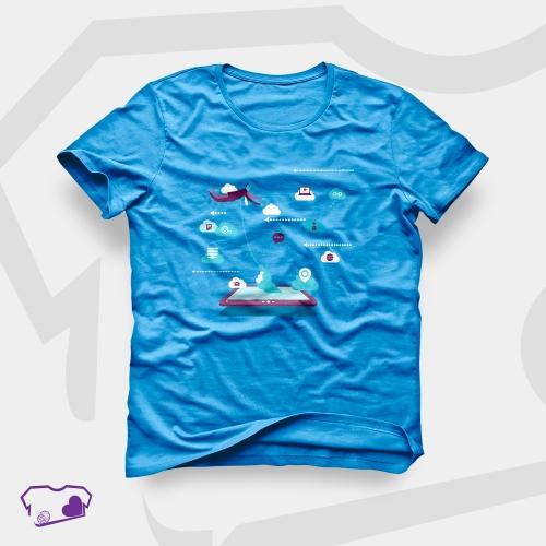 - Camisetas Azul em Silkscreen