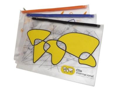 Pastas personalizadas - Pasta tipo envelope, confeccionada em PVC cristal ou sarja 0,30 mm