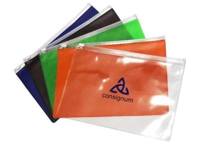 - Pasta zip zap em PVC transparente ou colorido, espessura 0,20 mm tamanho 15,5 X 22,5 cm