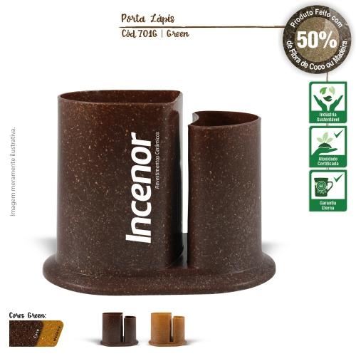 PORTA LÁPIS E CANETA ECOLÓGICO DE FIBRA DE COCO OU MADEIRA
