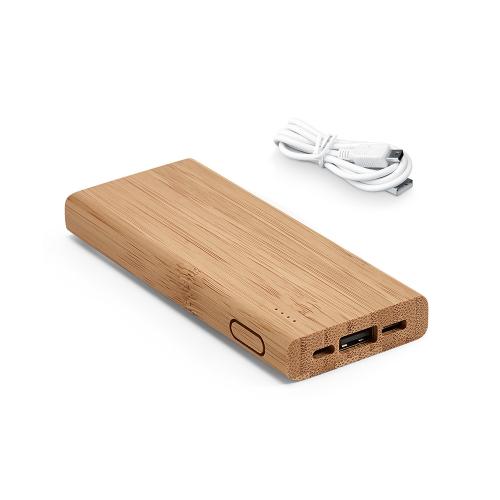 Brindes eletrônicos personalizados - Power bank em bambu