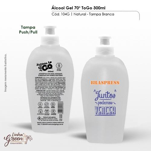 - Álcool em Gel 70% com frasco de 300ml para personalização com seu logo