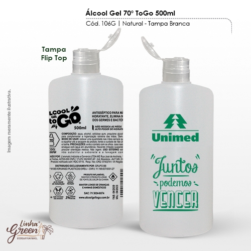 - Álcool em Gel 70% de 500ml regulamentado pela ANVISA personalizado com seu logo