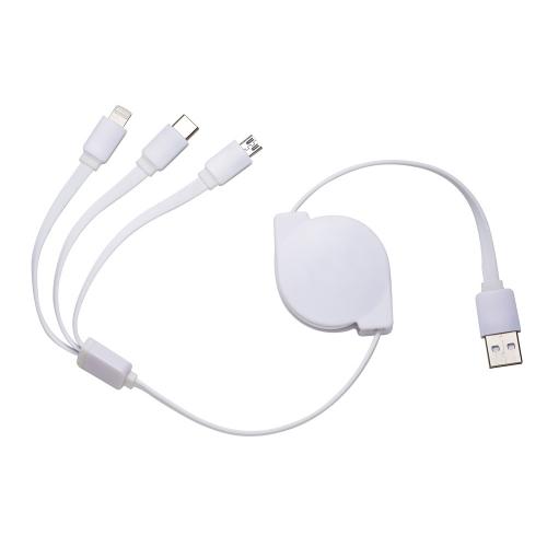 - Cabo de Dados Retrátil USB 3 em 1