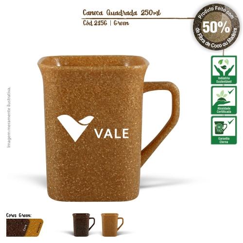 Caneca Quadrada Ecológica de 250ml de fibras da casca do coco ou de resíduos de madeira