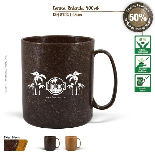 Caneca Redonda Ecológica 400ml de fibras da casca do coco ou de resíduos de madeira