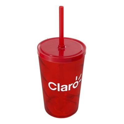 Copos personalizado, Canecas personalizada, Long drink personalizado - Copo 550 espiral com tampa e canudo