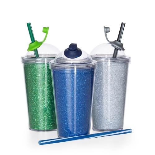 Copos personalizado, Canecas personalizada, Long drink personalizado - Copo de Acrílico 550ml com Suporte Canudo