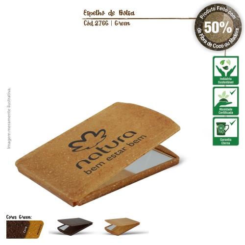- Espelho de Bolsa Ecológico de fibras da casca do coco ou de resíduos de madeira