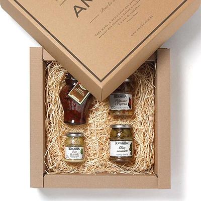 cestas de presente, cestas de natal - Kit gourmet personalizado com 4 aperitivos italianos
