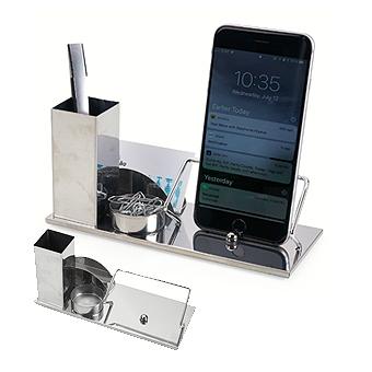 Kit escritório 4 em 1. Material inox espelhado, suporte para cartões, canetas, clips e celular.