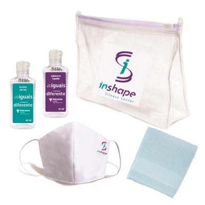 - Kit Higiene com Álcool gel, Máscara, Sabonete Líquido e Toalha de mão