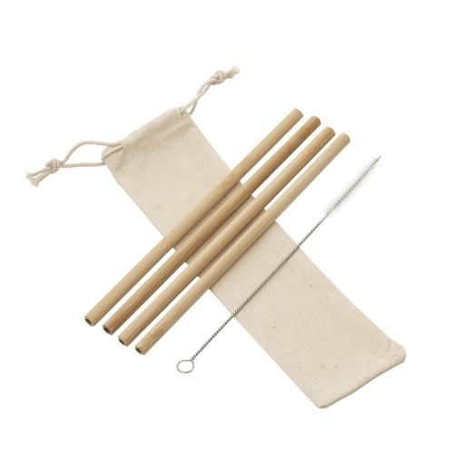 Kit Canudos de Bambu com Escova de Limpeza
