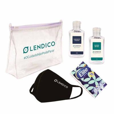 - Kit Higiene Pessoal Personalizado com Álcool em gel, Máscara, Sabonete Líquido e Lenço de papel