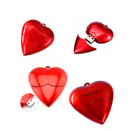 Pen drive personalizado, pen card personalizado, brindes para informática - Pen Drive Coração 4GB/8GB/16GB/32GB