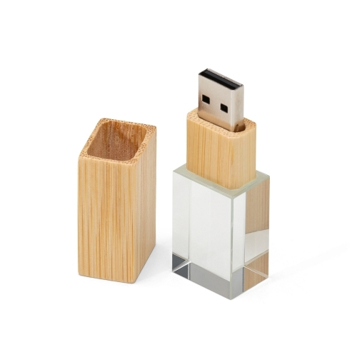 Pen drive personalizado, pen card personalizado, brindes para informática - Pen Drive Cristal Bambu 4GB