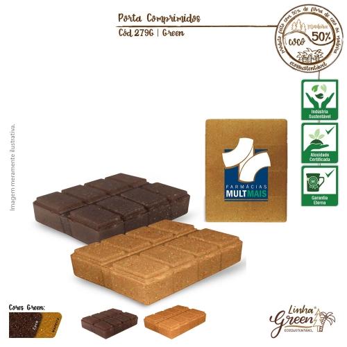- Porta Comprimidos Ecológico de fibras da casca do coco ou de resíduos de madeira
