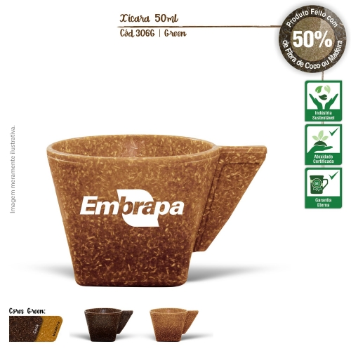 - Xícara de Café sem Píres Ecológica 50ml de fibras da casca do coco ou de resíduos de madeira