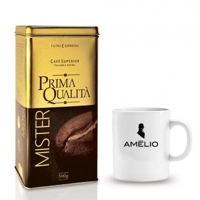 - Kit café gourmet em lata e caneca personalizada