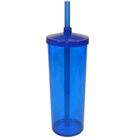 Long Drink com Tampa e Canudo 300 ml Acrílico (PS cristal ou opaco)