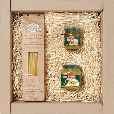 cestas de presente, cestas de natal - Kit Gourmet com massa especial italiana, molho vermelho e aperitivo