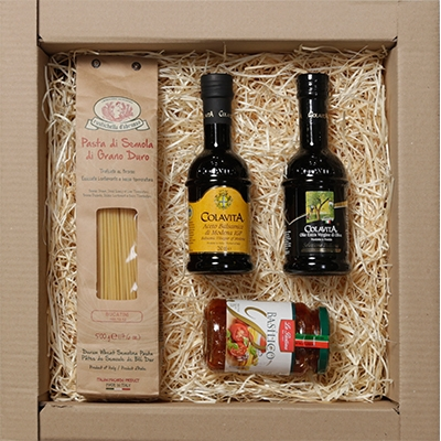 cestas de presente, cestas de natal - Kit Gourmet com massa especial italiana, molho vermelho, azeite extra virgem e vinagre balsâmico