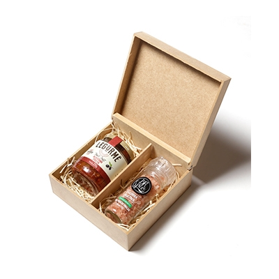 - Kit Gourmet com aperitivo e sal rosa do himalaia com caixa de madeira
