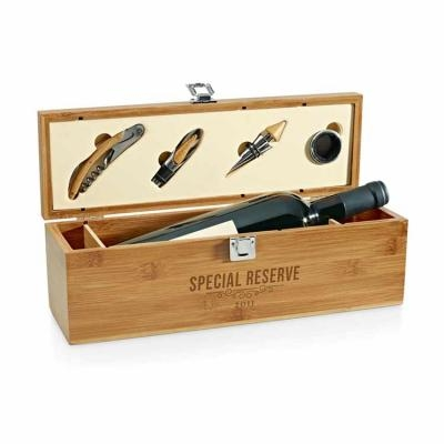 - Conjunto para vinho Personalizado com caixa de madeira