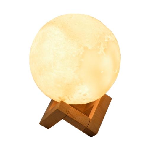 Brindes eletrônicos personalizados - Luminária Abajur Led Lua 12Cm Recarregável - Hutz