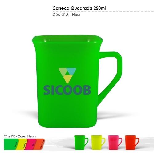 Caneca Quadrada de 250ml de plástico com certificado de atoxicidade e BPA Free. Cores Neon