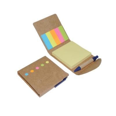 Bloco de anotações ecológico com post-its, marcadores de páginas e caneta