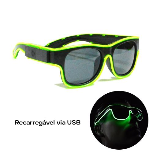 - Óculos Neon LED Recarregável via USB - Lente Escura - Hutz
