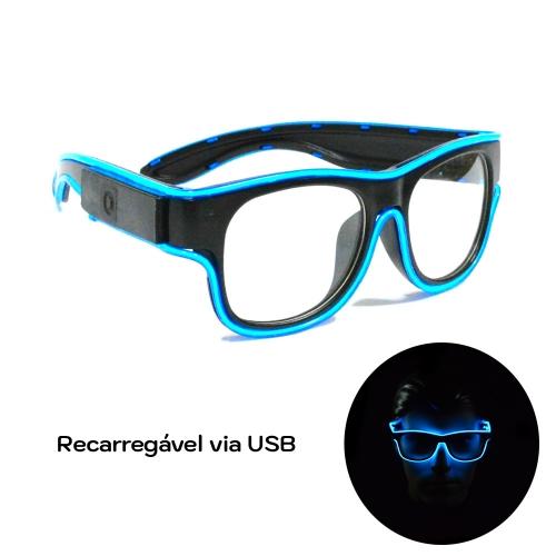 - Óculos Neon LED Recarregável via USB - Lente Transparente - Hutz