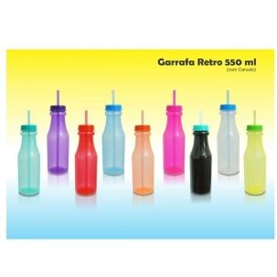 Garrafa Retro ml PP com canudo, 550 ml
