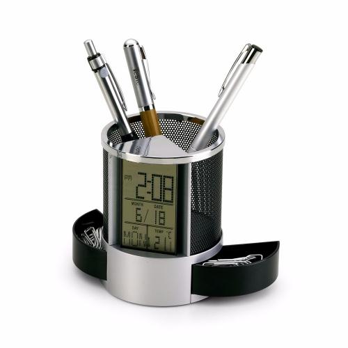 Porta lápis personalizado, porta caneta personalizado criativo - Porta Caneta com Relógio
